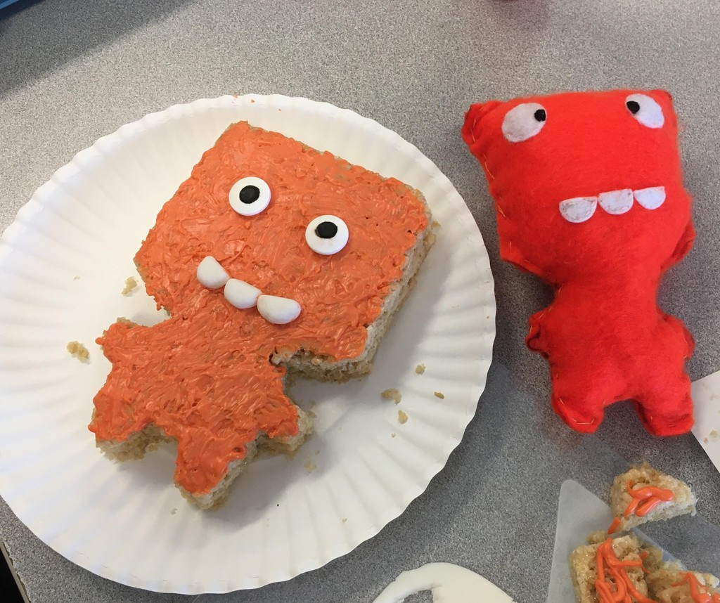 Student's edible version of their orange felt monster