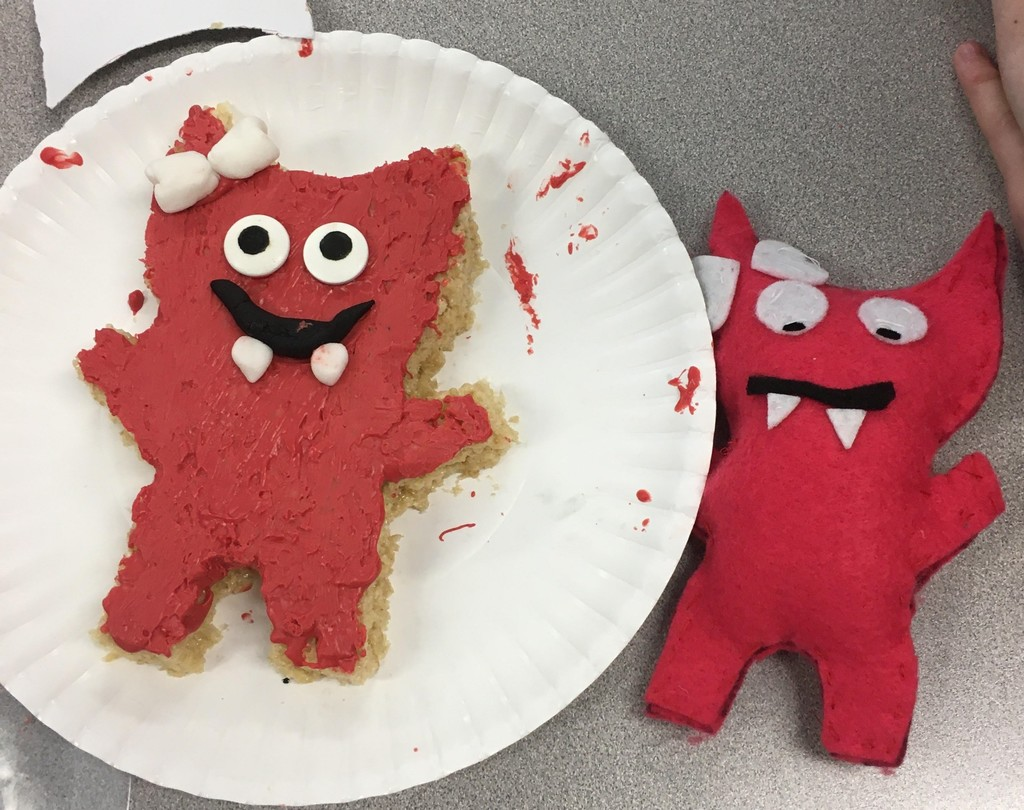 Student's edible version of their red felt monster