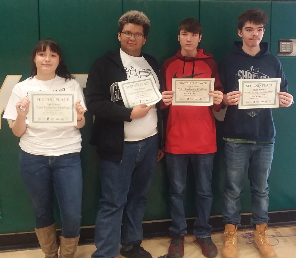 Students hold up their 2nd place certificates for the Video Production Challenge
